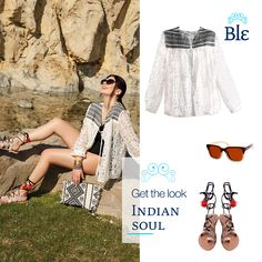 The delicately made kimono, the sandals strapped high to the ankle and the shift bag to match it all, shape the ultimate Indian inspired look! Get it here www.ble-shop.com #MyBleSummer Get The Look, Kimono, Indian, Shape, Ankle, Inspired, Sandals, Bags, Inspiration