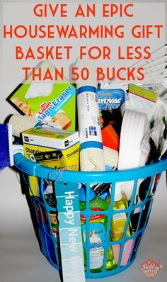 this housewarming gift basket costs less than $50 to make, is filled with useful items, and is only filled with things you can find at the dollar store!