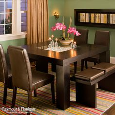 With square pillar legs and leather-look seating, this Cortland Place 7-piece dining set really knows how to stir up some contemporary flavor.