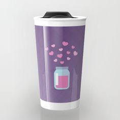 Love Jam Travel Mug - Love, heart, hearts, jam, jelly, preservative, jar, canning, can, plaid, purple, pink, mom, mother, Mother's Day, valentine, Valentine's Day, vector, drawing, illustration, art, design