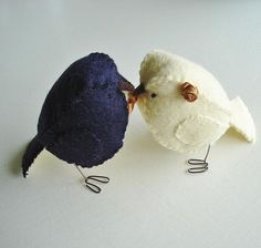 Hand made wedding cake topper birds in navy and ivory