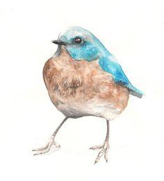 Blue Bird Watercolor Illustration Print Birdie Blue Brown Feather Nature Home Decor. $25.00, via Etsy.