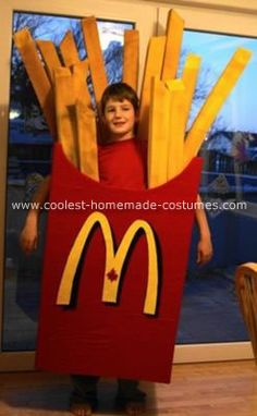 Homemade French Fry Costume: It is always a challenge to come up with a new costume each year for our 5 children... never can they wear the same costume. Colby loves MC so we thought