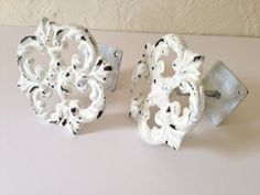 Shabby chic curtain tie back, drapery tie back, wrought iron, Set of two white by MySugarBlossom on Etsy