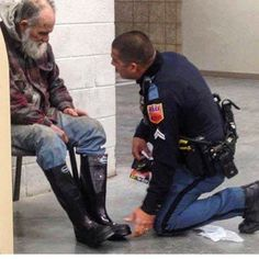 """Please follow @lovewhatmatters an amazing inspirational account!  """"The homeless man just wanted a place to stay warm. He stayed inside the Lowe's Home Improvement Store where the employees raised money for food and found an open shelter for the man. They called El Paso police to transport the man to the shelter but when Officer Jose Flores noticed the man needed shoes he went into the store and bought him a brand new pair of snow boots socks and gloves.""""  Jesus said """"I tell you the truth…"""