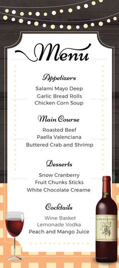 Rustic Wedding Menu Template  Menu Template Designs