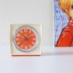 Orange Mid Century wind up Alarm clock made for Dutch company Hema. Alarm Companies, Vintage Pendant Lighting, Security Cameras For Home, Home Security Systems, Alarm Clock, Vintage Items, Mid Century, How To Apply, Orange