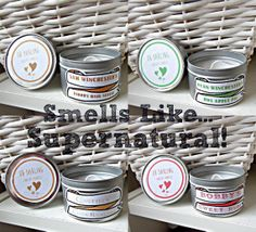 Supernatural Themed Candle Gift Set 1. Sam Winchester's Floppy Hair Serum 2. Dean Winchester's Hot apple pie 3. Castiel's Clean Raincoat 4. Bobby's Sweet Rum