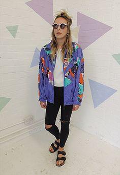 Vintage 80's Purple Crazy print Nylon Shell Jacket