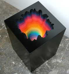 The Miami-based artist Jen Stark rose to fame with her vibrant paper art. She creates three-dimensional pieces by using hand-cut, acid-free fluorescent paper. Stark recently began using lighting mechanisms to enhance her work. The results are psychedelic. Jen Stark, Modern Art, Contemporary Art, Instalation Art, Rainbow Paper, Rainbow Art, Ouvrages D'art, Paper Artwork, Sculpture Art