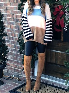 6ba4e1b41c1 Over the knee boots that stay up on your legs - Spanx leather leggings -  shein color block sweater. Mary Anna Jefcoat