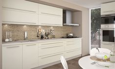 Moderní kuchyňská linka Quantum Double Vanity, Vanilla, Kitchen Cabinets, Mirror, Furniture, Home Decor, Kitchens, Environment