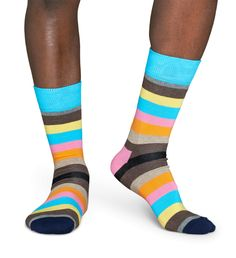 """Stripe"" Unisex Socks by HAPPY SOCKS   Colour: Black, Blue, Brown, Grey, Orange, Pink, Yellow   Size: 36-40 (women) & 41-46 (men)   Composition: 80% Combed Cotton, 17% Polyamide, 3% Elastane   SKU: SA01-601   SOURCE: http://www.happysocks.com/eu/stripe-socks-8-11eefc9efc960ec5101f933850321393.html"