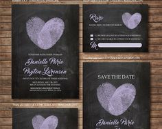 Wedding Invitation printables Finger print Heart by DallinsPaperie Homemade Wedding Invitations, Chalkboard Wedding Invitations, Spring Wedding Invitations, Wedding Invitation Design, Wedding Stationery, Invitation Suite, Wedding Card Quotes, Wedding Cards, Wedding Day