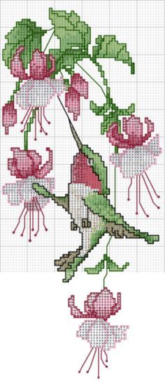 cross stitch hummingbird