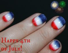 In honor of the of July I did a red, white and blue gradient manicure using a makeup sponge and 3 basic nail polish shades. Blue Gel Nails, Blue And White Nails, Blue Ombre Nails, Striped Nails, Blue Nail Designs, Simple Nail Art Designs, Basic Nails, Simple Nails, Fourth Of July Nails Easy