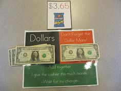 Money skills - Dollar More with visual supports free printable on blog