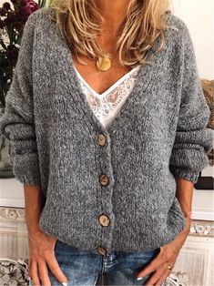 Casual Cotton-Blend V Neck Cardigan-Outerwear, Gray / XL V Neck Cardigan, Long Sleeve Sweater, Long Sweater Outfits, Ethno Style, Pullover Mode, Cooler Look, Up Girl, Sweater Fashion, Cardigans For Women