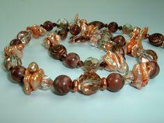 Peach Pearls Dark Copper Crystal Necklace by extravagantdesigns, $35.00