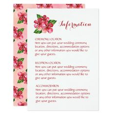 Red Hibiscus Tropical Wedding Information Cards Customizable Invitations #beach #summer #wedding #invitation