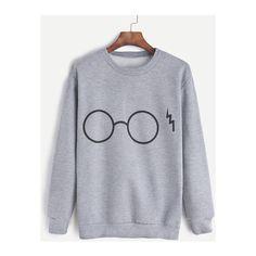 Grey Glasses Print Sweatshirt ($15) ❤ liked on Polyvore featuring tops, hoodies, sweatshirts, shirts, harry potter, pull, sweatshirt, print sweatshirt, patterned tops and gray sweatshirt