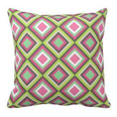 Green Decorative Throw Pillows   Pretty Throw Pillows   Green and pink diamond pattern pillow