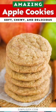 Apple Cookies get their delicious taste from Apple Butter. They are soft, delicious, and the perfect cookie for fall. Apple Pie Cookies, Frozen Cookies, Bar Cookies, Sugar Cookies Recipe, Yummy Cookies, Apple Recipes, Fall Recipes, Sweet Recipes, Delicious Cookie Recipes