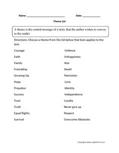 Theme Worksheet Identifying and Development Part 1 Beginner ...