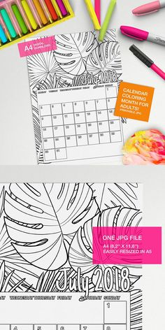 july 2018 calendar to color for adults printable calendar colouring book self care adults coloring