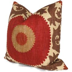 Fahri Clove Red Suzani Decorative Pillow Cover Square, Eurosham or Lumbar Pillow Cover, Accent Pillow, Throw Pillow, Pillow Cover - multiple sizes for lumbar