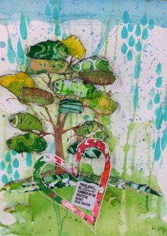 """""""I used watercolors on watercolor paper, acrylic paints with a tree and raindrop stencil, gelli printed torn paper, and a quote printed from the web.""""  Lucy's Lampshade: Is is Summer yet?"""