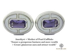 "Amethyst + Mother of Pearl Sterling Silver Cufflinks, Rhodium plated, Prestige Model ""Ensure a prosperous business and more wealth + Create glamorous aura and attract wealth"" *** Combine 2 Gemstone Powers to double your LUCK ***"