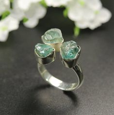 925 Sterling Silver Rough Aquamarine Gemstone Ring Green Stone Size L-T Aquamarine Gemstone, Gemstone Rings, Showing Gratitude, Turquoise Water, Green Stone, Unique Rings, Absolutely Stunning, Silver Rings, Miniatures