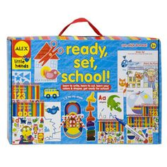 Ready, Set, School: There are dozens of fun pre-school activities in this one box. Learn shapes with stickers, a wipe away ABC and 123 books, a Tie My Shoe lacing card with instructions, scissors and stackable finger crayons.    A wonderful way to engage little ones preparing for pre-school. For older children, it's fun to continue the pre-school learning at home. This product promotes many key developmental skills including fine motor, perceptual, cognition and self care.