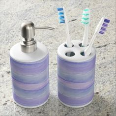Ultra Violet Watercolor Layers Pattern Soap Dispenser And Toothbrush Holder - watercolor gifts style unique ideas diy