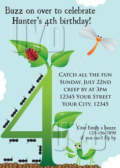 Bug Birthday Party Invitation Printable Invite ANY AGE Boy Girl Bi