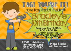 Laser Tag 5x7 Invitation - Boy Birthday Party - PRINTABLE