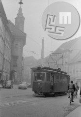 Tramvaj na Mestnem trgu; / Tram passing the City square - on the left there is town hall and the Robba's fountain, covered by the tram, 1958 (photo: Marjan Ciglič). Town Hall, Fountain, December, Street View, City, Water Fountains, Cities