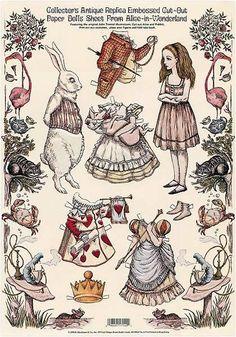 Vintage Reprint of an Alice in Wonderland paper doll set. Artist Unknown Source: chalkdustswan