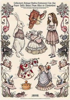 Vintage Reprint of an Alice in Wonderland paper doll set. Artist Unknown Source:  chalkdustswan
