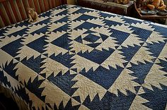 Antique 19th Century Indigo Blue and White Cutter Quilt | eBay