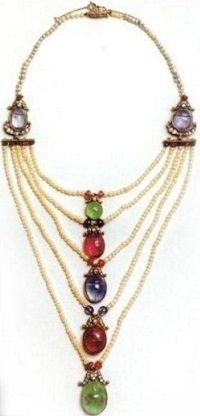 Crown Princess Margaretha's Scarab Necklace ~ created by the jeweler Koch in Frankfurt in 1905, rubies, sapphires, pearls and diamonds, on the grounds of beetles, this necklace may be an allusion to the romantic meeting in Egypt Margaret and Gustav Aldolf: a gift from King Gustav V Queen Victoria to their daughter