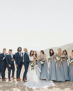 Lulus weddings on all the feels with this bridal party featuring our dance the night away slate blue maxi lovelulus lulusweddings via kimmy_leww photo bohemian sage green wedding with a geometric pampas grass backdrop Slate Blue Bridesmaid Dresses, Grey Bridesmaids, Wedding Bridesmaid Dresses, Wedding Attire, Bridal Party Dresses, Grey Bridal Parties, Dusty Blue Weddings, Blue Bridal, Wedding Colors