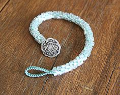 Shimmery Blue Kumihimo Button Bracelet by curlywillowstudios
