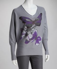 Look at this High Secret Gray Butterfly V-Neck Sweater on #zulily today!
