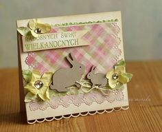 Shabby Easter Bunny Card...with cutout rabbits & paper flowers...Scrapbook.com.
