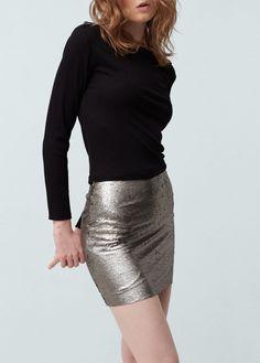 Karlie Kloss Mango Silver Sequin Skirt