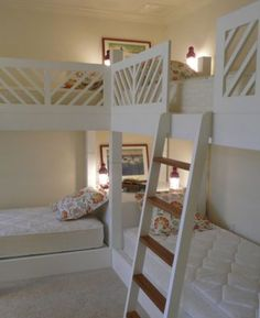 Imma make this for my girls room. Or boys whatever. But not the bottom beds and put desks there instead. They can never hide anything under the bed that way =]