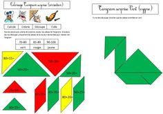 Coloriage magique Cygne soustraction addition CE1