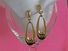 Vintage ANNE KLEIN Long Dangle Hoop Earrings, Gold Tone, Clip On, FREE Shipping (U.S.) Anne Klein, Gold Earrings, Hoop, Vintage Jewelry, Dangles, Free Shipping, Bracelets, Etsy, Fashion